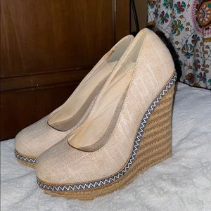 Call It Spring- White & Tan Wedges